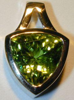 Green Tourmaline Trillion Pendant